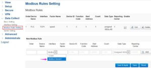 On the Modbus Rules setting