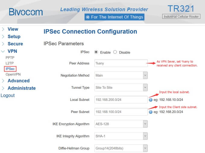 TR321 VPN Server setup